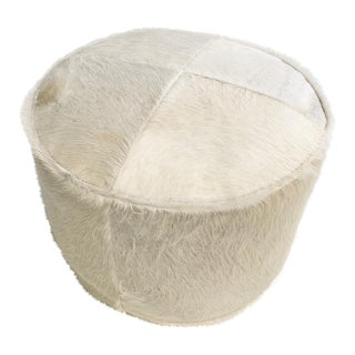Ivory Cowhide Pouf Ottoman For Sale