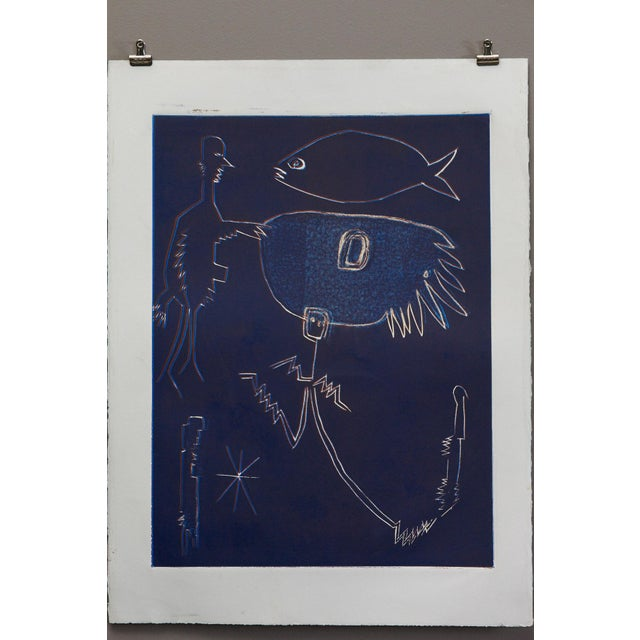 Abstract Wyona Diskin, Blue Man with Fish circa 1987 For Sale - Image 3 of 9