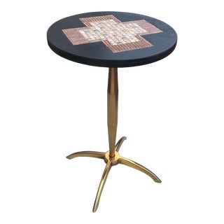 Mid Century Mosaic Side Table with Brass Legs For Sale