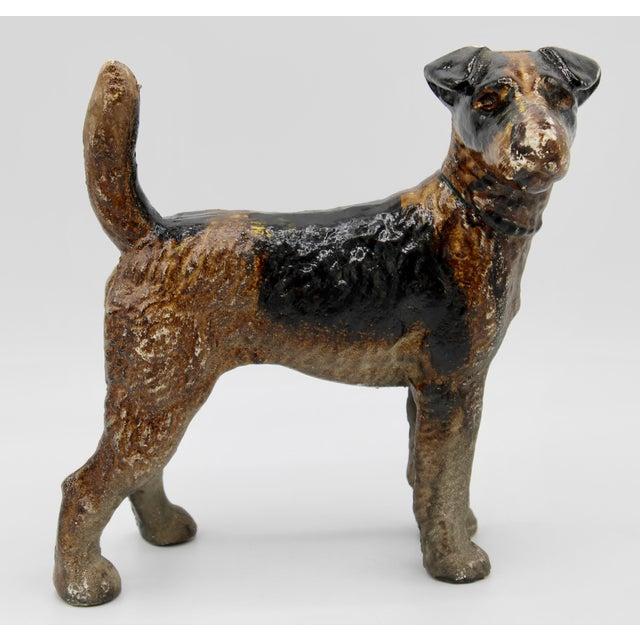 Figurative Antique Cast Iron Hubley Dog Door Stop / Garden Statue For Sale - Image 3 of 13