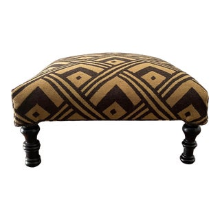 Custom Made Contemporary Upholstered Ottoman For Sale