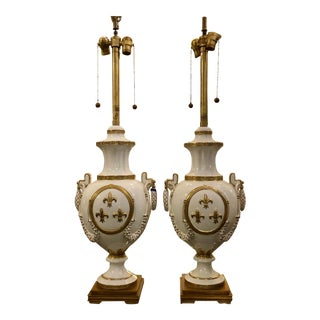 Pair of Marbro Gold & White Porcelain Hollywood Regency Style Table Lamps For Sale
