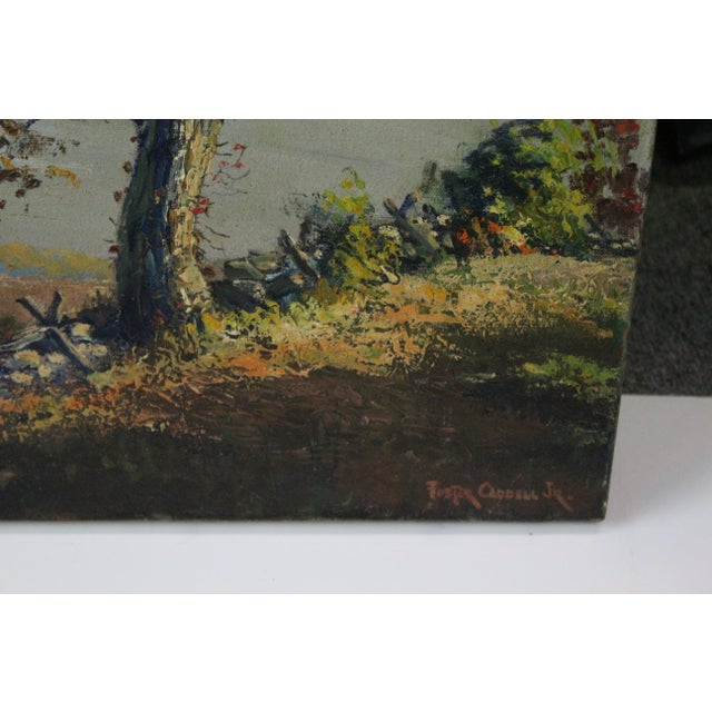 "Americana Caddell Fall Tree ""Golden Shaft"" Oil Painting For Sale - Image 3 of 7"