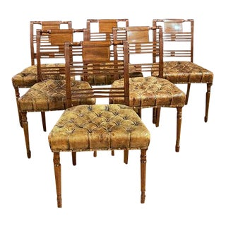 Set of Six Regency Side Chairs With Tufted Leather Seats For Sale
