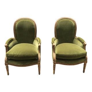 19th Century Carved Giltwood Bergere Chairs - a Pair For Sale