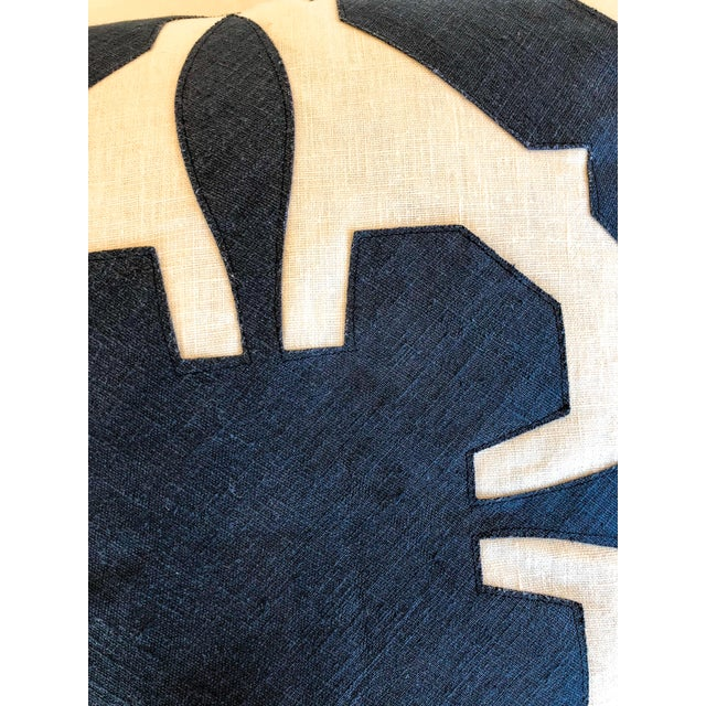 2010s White With Navy Geometric Print Pillow For Sale - Image 5 of 6