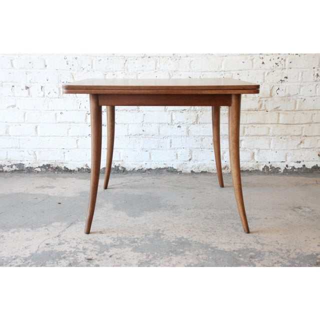 Harvey Probber Mid-Century Modern Bleached Mahogany Saber Leg Flip Top Extension Dining or Game Table For Sale In South Bend - Image 6 of 10
