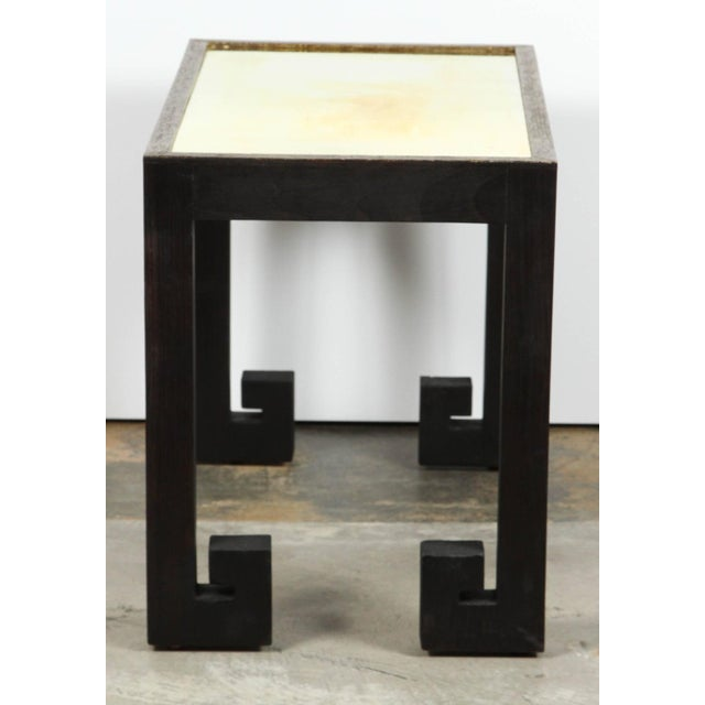 Transitional Paul Marra Distressed Greek Key Side Tables - a Pair For Sale - Image 9 of 12