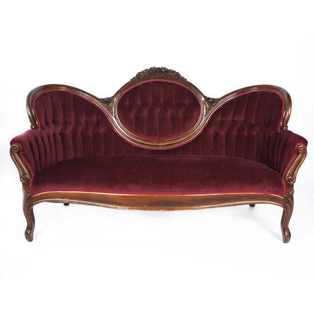 Antique Victorian Burgundy Velvet Sofa - Image 1 of 5