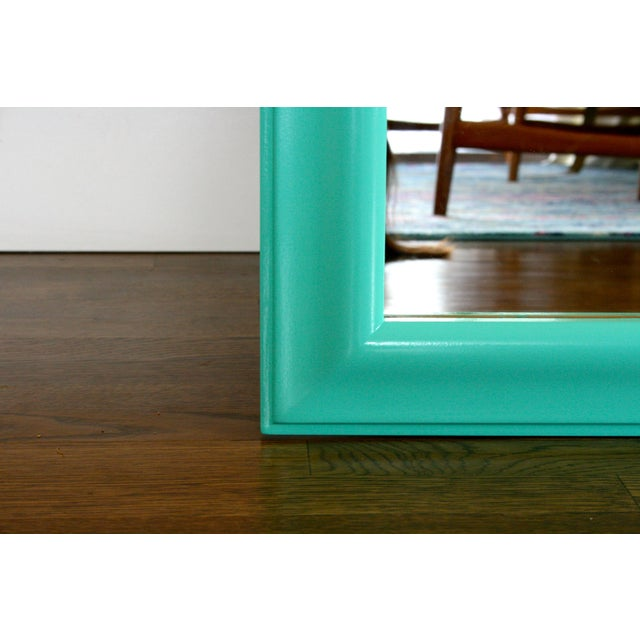 1970s Boho Chic Aqua Framed Wall Mirror For Sale - Image 4 of 6