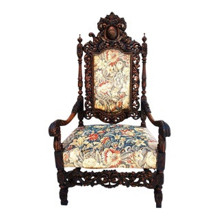 French 19th Century Throne Chair For Sale