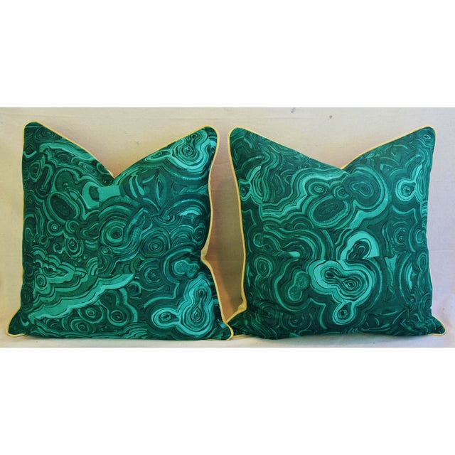 "Jim Thompson Malachite Feather/Down Pillows 24"" Square - Pair For Sale - Image 9 of 10"
