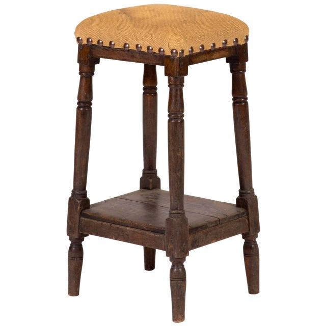 Late 19th Century Tall Upholstered English Stool With Bottom Shelf For Sale