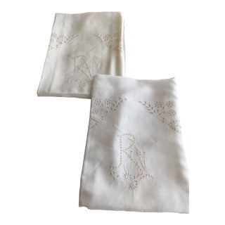 "1920s Shabby Chic Oversize Embroidered Euro- Shams Monogram ""RN"" - a Pair For Sale"