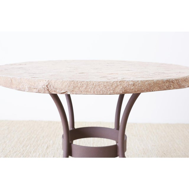 Late 20th Century Pair of o.w. Lee Faux-Stone Patio Garden Drink Tables For Sale - Image 5 of 13