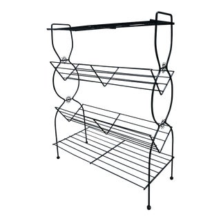 1960s Vintage Mid Century Modern Black Wire Plant Stand Bookshelf For Sale