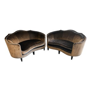 Marge Carson Brown Velvet Settee- Set of 2