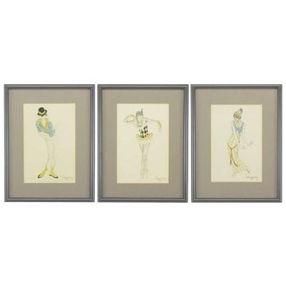 "Set Three Walter Schnackenberg (1880-1961) ""Ballet Und Pantomime"" Tinted Prints For Sale"