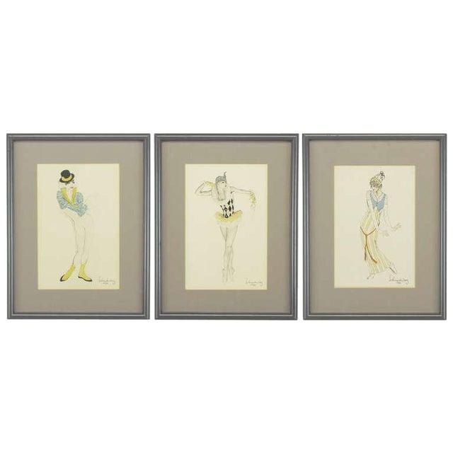 "Set Three Walter Schnackenberg (1880-1961) ""Ballet Und Pantomime"" Tinted Prints For Sale"