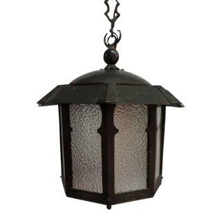 Arts & Crafts Copper Lantern With Textured Glass For Sale