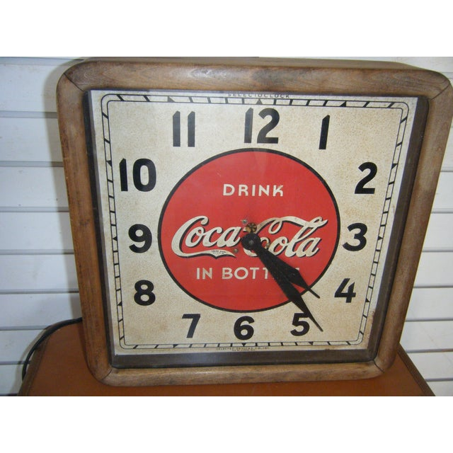 Vintage 1939 Coca Cola Wall Clock For Sale - Image 3 of 4