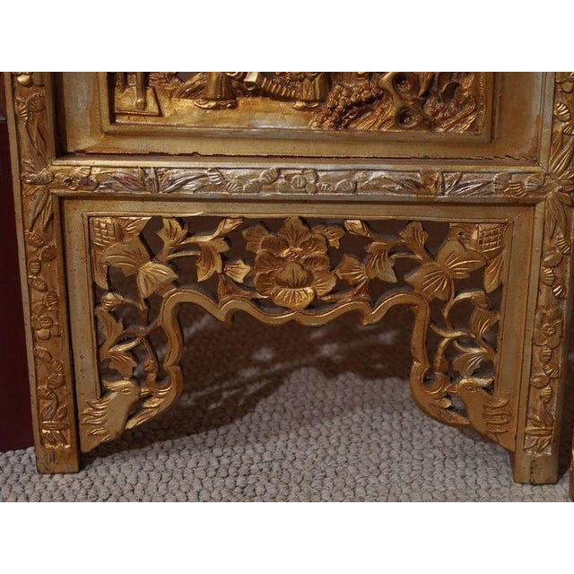 Giltwood Antique Chinese Four-Panel Screen For Sale - Image 7 of 10