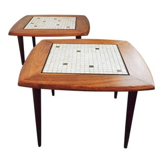 Mid Century Mosaic and Walnut Side Tables - Set of 2 For Sale