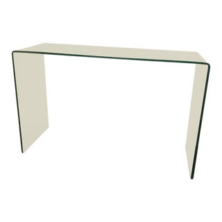 Glass Waterfall Console Table For Sale