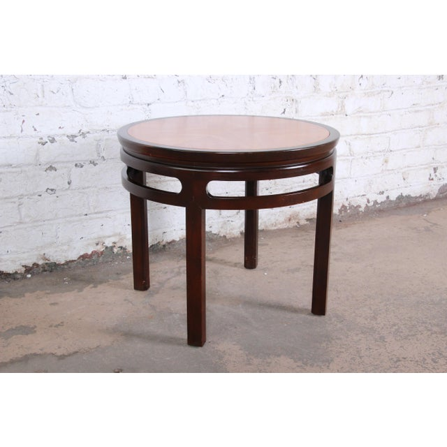 Michael Taylor for Baker Furniture Chinoiserie Teak and Mahogany Side Table For Sale In South Bend - Image 6 of 8
