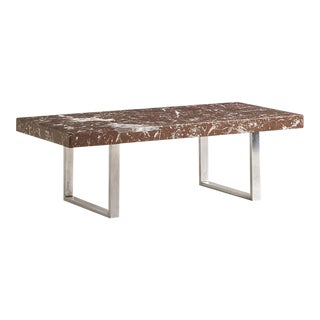 Rosso Levanto Marble and Chrome Coffee Table For Sale