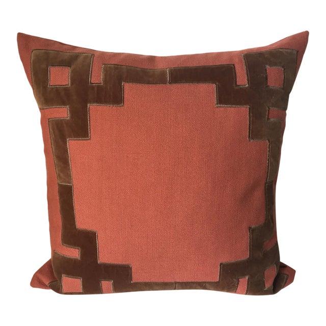 Linen & Velvet Accent Pillow-Feather Insert For Sale