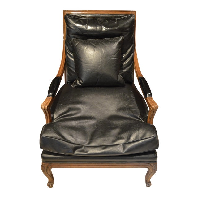 Vintage Black Leather Upholstered Bergere Chair For Sale