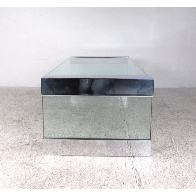 1970s Mid-Century Modern Chrome and Glass Coffee Table After Pace For Sale - Image 5 of 8