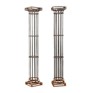 Pair of Tall Contemporary American Iron Architectural Columns For Sale