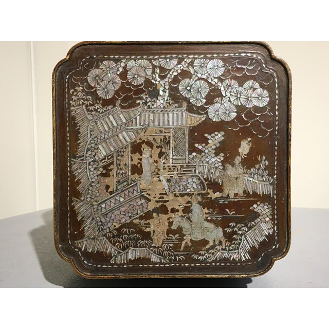 Japanese Ryukyu Islands Lacquer and Mother of Pearl Small Side Table - Image 7 of 11