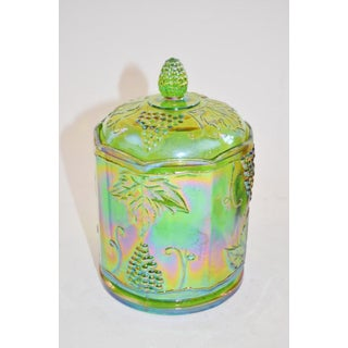 Lidded Iridescent Lime Green, Orange and Blue Carnival Glass Canisters - Set of 3 Preview
