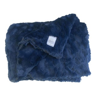 Navy Faux Fur Minky Throw For Sale