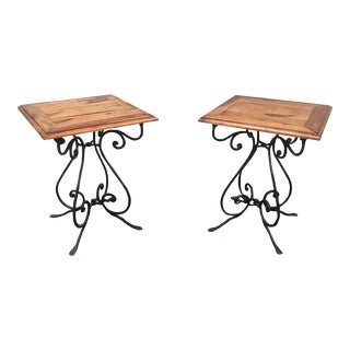 Rustic French Bistro Walnut SideTables With Iron Bases - a Pair