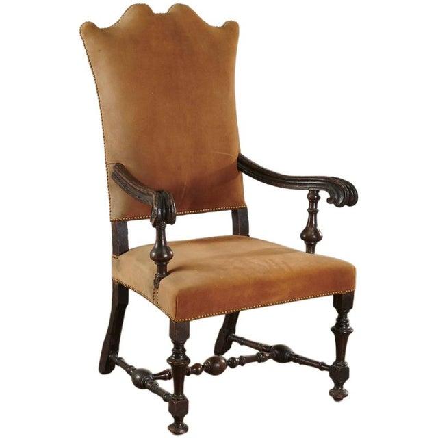 Jacobean Period Dutch 17th Century Walnut Jacobean Armchair For Sale - Image 3 of 3