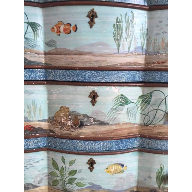 Hand-Painted Aquatic Turtle-Footed Chest Dresser - Image 2 of 8