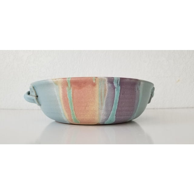 A lovely fine and robustly glazed Mid-Century Modern Sculptural art pottery Bowl Signed on the bottom by Artist Frank...