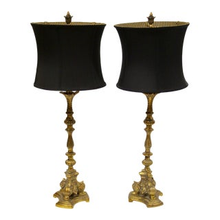 Neiman Marcus Table Lamps With Shades, Pair