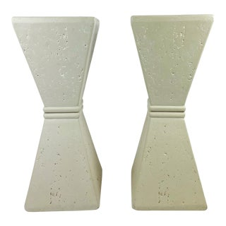 1990s Faux Travertine Postmodern Bow Tie Pedestals / Console Bases - a Pair For Sale