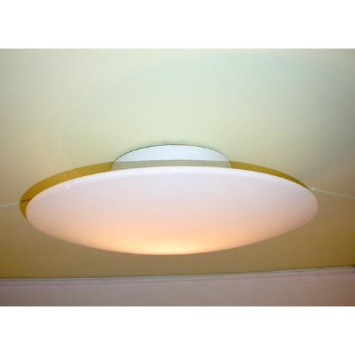 Mid-Century Modern White Glass Disc Wall Sconces - Set of 4 For Sale - Image 3 of 6