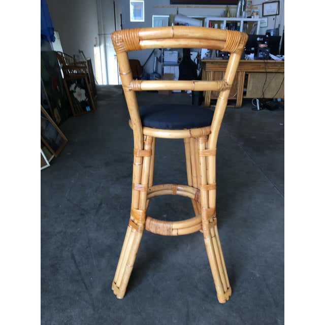 1950s Restored Three Strand Rattan Bar Stool W/ Pole Rattan Back, Pair For Sale - Image 5 of 8