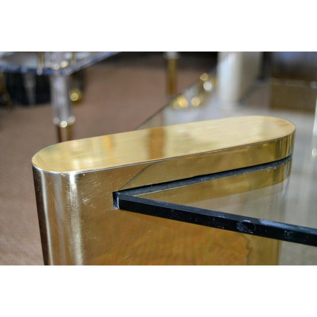 Metal Karl Springer Mid-Century Modern Brass & 2-Tier Glass Coffee Table, Signed For Sale - Image 7 of 13