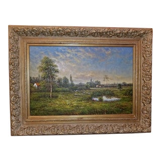 Large Dutch School Landscape Oil Painting on Canvas by Jack Lanze For Sale