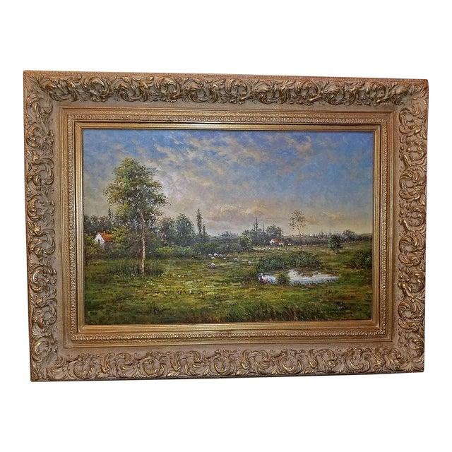 Large Dutch School Landscape Oil Painting on Canvas by Jack Lanze For Sale