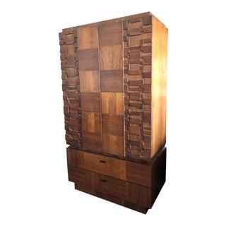 Mid Century Modern Lane Brutalist Staccato Highboy Cabinet