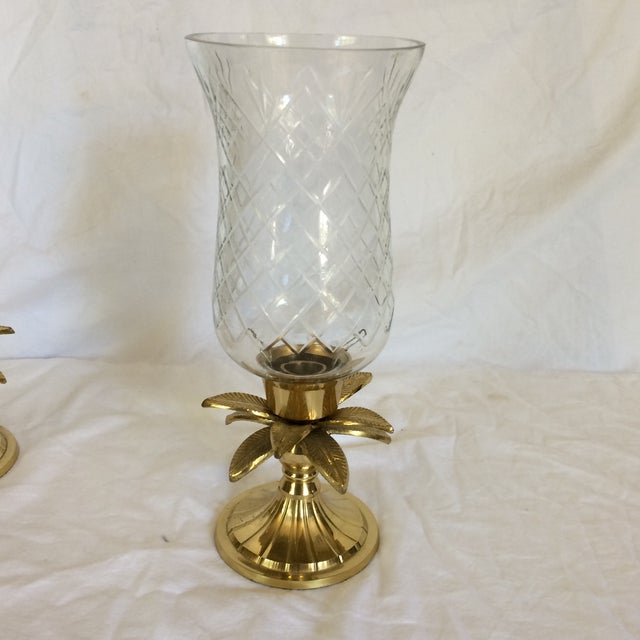 Vintage Etched Crystal & Brass Pineapple Design Candle Holders - a Pair - Image 3 of 11
